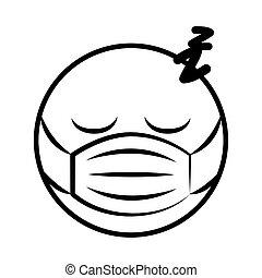 coronavirus, monde médical, style, emoticon, masque, dessin animé, dormir, covid-19, ligne, pandémie
