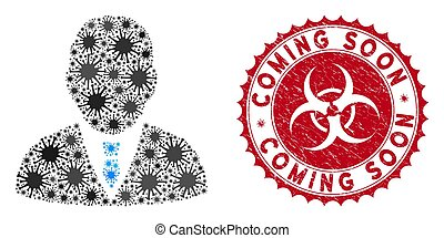 Coronavirus Mosaic Boss Icon with Scratched Coming Soon Seal