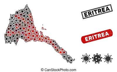 Coronavirus Mosaic Eritrea Map with Grunge Stamps