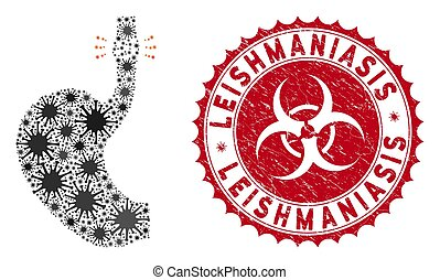 Coronavirus mosaic esophageal cancer icon and rounded rubber stamp seal with Leishmaniasis caption. Mosaic vector is formed with esophageal cancer icon and with scattered bacillus items.