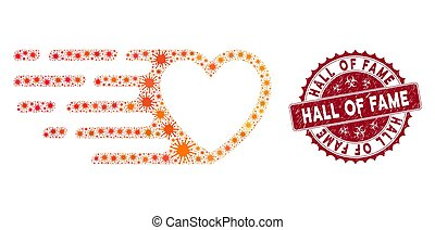 Coronavirus Mosaic Fast Love Heart Icon with Textured Hall of Fame Stamp
