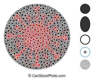 Coronavirus Mosaic Filled Circle Icon - Coronavirus mosaic ...