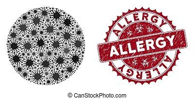 Coronavirus Mosaic Filled Circle Icon with Distress Allergy ...