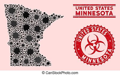 Coronavirus Mosaic Minnesota State Map with Grunge Biohazard Stamps