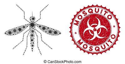 Coronavirus Mosaic Mosquito Icon with Scratched Mosquito Stamp