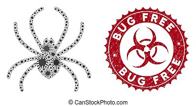 Coronavirus Mosaic Spider Icon with Distress Bug Free Stamp
