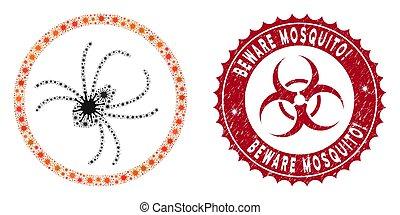 Coronavirus Mosaic Spider Icon with Scratched Beware Mosquito! Stamp