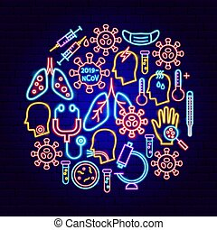 coronavirus, néon, concept