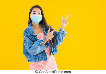 coronavirus, o, uso, retrato, asiático, hermoso, proteger, covid19, mujer, máscara, joven