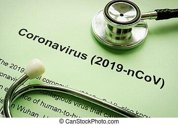 coronavirus, ou, pneumonia, 2019-ncov, stethoscope., wuhan, ...
