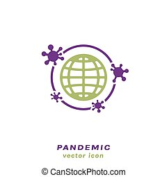 Coronavirus outbreak sign. Influenza and pneumonia pandemic icon. COVID-19 epidemic disease. China pathogen. Medical virology concept. Colourful vector illustration isolated on a white background
