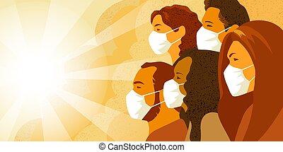 coronavirus, pandemia, médico, concept., mask., gente, grupo...