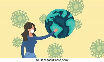 coronavirus pandemic animation with woman lifting planet and spores ,4k video animated