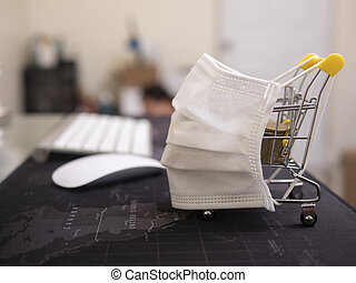 Coronavirus pandemic, COVID-19 shopping concept