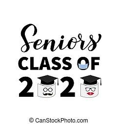 coronavirus, papel, poster., covid-19, vector, t-shirt., máscara, saludo, graduación, bandera, letras, tarjeta, clase, plantilla, servicio, quarantine., seniors, 2020, divertido, cap., tipografía