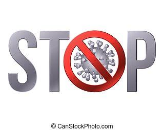coronavirus, parar la muestra, icon., precaución, covid-19
