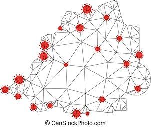 coronavirus, polygonal, cadre, vatican, vecteur, maille, fil, carte
