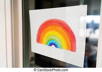 coronavirus, positivité, peinture, arc-en-ciel, fenêtre., dessin, pendre, covid-19, soutien, pendant, pandémie
