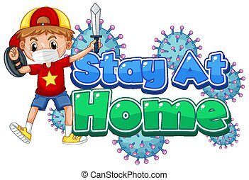 Coronavirus poster design for stay at home with boy playing