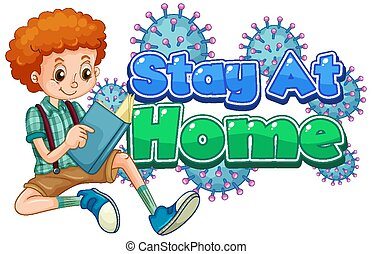 Coronavirus poster design for stay at home with boy reading book