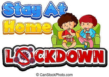 Coronavirus poster design for word lock down with kids at home