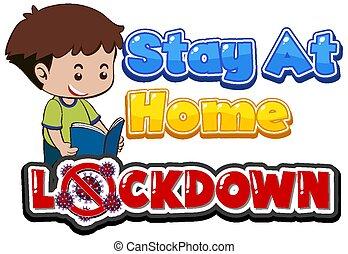 Coronavirus poster design for word lockdown with boy reading