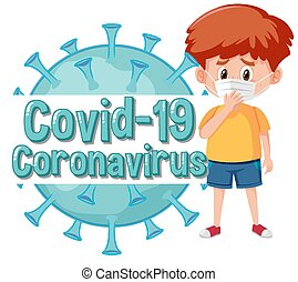 Coronavirus poster design with sick boy and virus cell