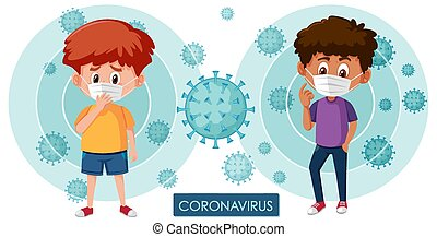Coronavirus poster design with virus cells and sick boy