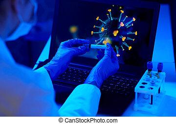 coronavirus, pr�fung, besitz, trinkbecher, hand, blut