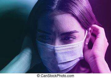coronavirus, prevenir, niña, impacto, cara, joven, -, mental, contra, salud, miedo, quirúrgico, corona, concepto, extensión, covid19, virus, máscara, pandemia, durante, gente, ansiedad, cuarentena, mujer, llevando