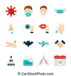 Coronavirus Prevention Objects. Set of Medical Items Isolated over White.