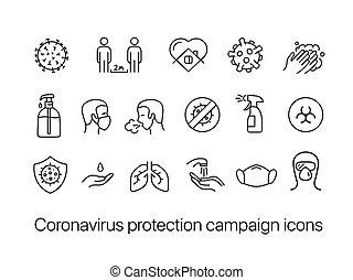 coronavirus, protección, campaña, aislado, fondo blanco, iconos, conjunto