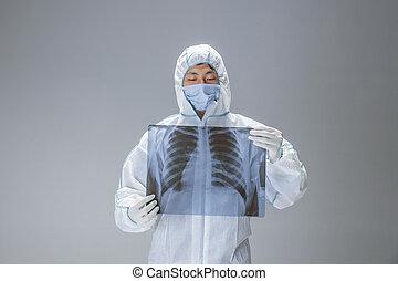 coronavirus, protecteur, medic, complet, blanc, hazmat, illustration, concept