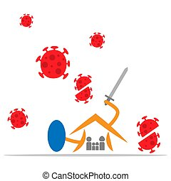 Coronavirus protection and quarantine in house. flat design. virus wuhan from china. Vector Illustration on white background