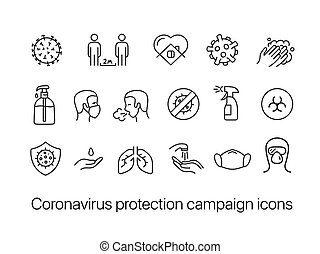 Coronavirus protection campaign icons set isolated on white ...