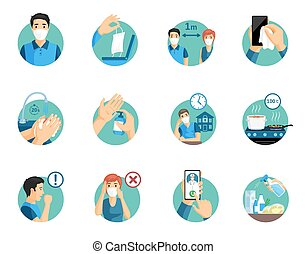 Coronavirus protection tips during global pandemic. Covid-19 prevention measures, stay at home, use mask, wash hands, use disinfectant and call doctor if you feel sick vector flat illustration.