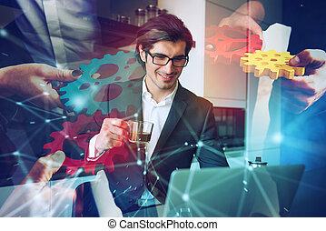 coronavirus, quarantine., casa, debido, trabaja, computador portatil, remoto, hombre de negocios