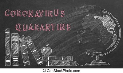 Lettering coronavirus quarantine, rotating globe and school books are drawn with chalk on a blackboard.