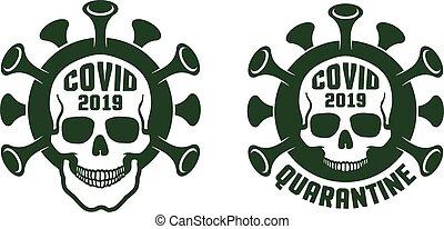 Coronavirus quarantine - skull icon in print style