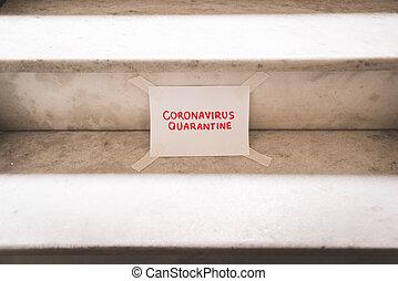 Coronavirus Quarantine Text on Paper Taped on Stairs