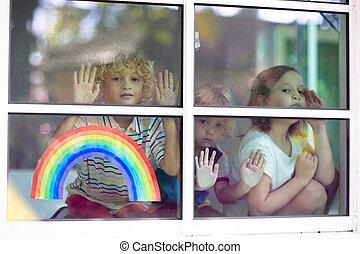 coronavirus, quarantine., ventana., niños, home., estancia