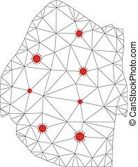 coronavirus, réseau, polygonal, swaziland, vecteur, maille, carte