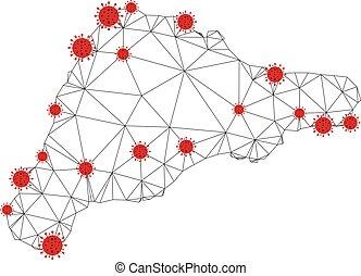 coronavirus, res muerta, isla, polygonal, pascua, vector, ...