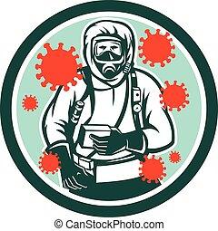 coronavirus, retro, complet, haz, chem, circ, devant