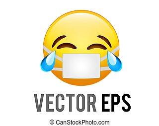 coronavirus, risata, vettore, giallo, pianto, lacrima, faccia, icona, maschera, blu