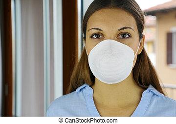 coronavirus, sars-cov-2., 2019., niña, cara, covid-19, enfermera, contra, quirúrgico, enfermedad, aislamiento, hospital, virus, máscara, pandemia, voluntario, automóvil, cuarentena, mujer, o, hogar