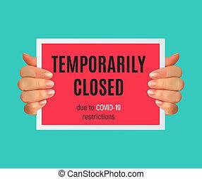 coronavirus, señal de peligro, información, temporalmente, ilustración, news., cerrado