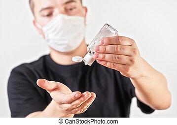 coronavirus, ser, brote, sobre la cara, covid-19, joven, gota, boca, lata, tenencia, limpio, frotamiento, ilustración, utilizado, prevención, máscara, nariz, antibacterial, manos, hombre, gel, fondo., o, confuso