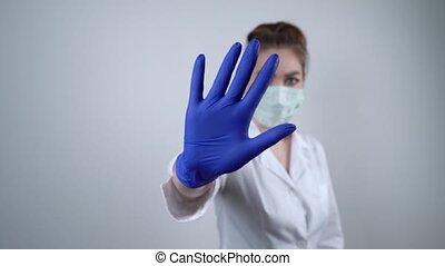 coronavirus, siła robocza, medyczny, pojęcie, traktowanie, ...