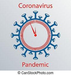 Coronavirus sign with a watch dial. Emblem of Asian flu. ...
